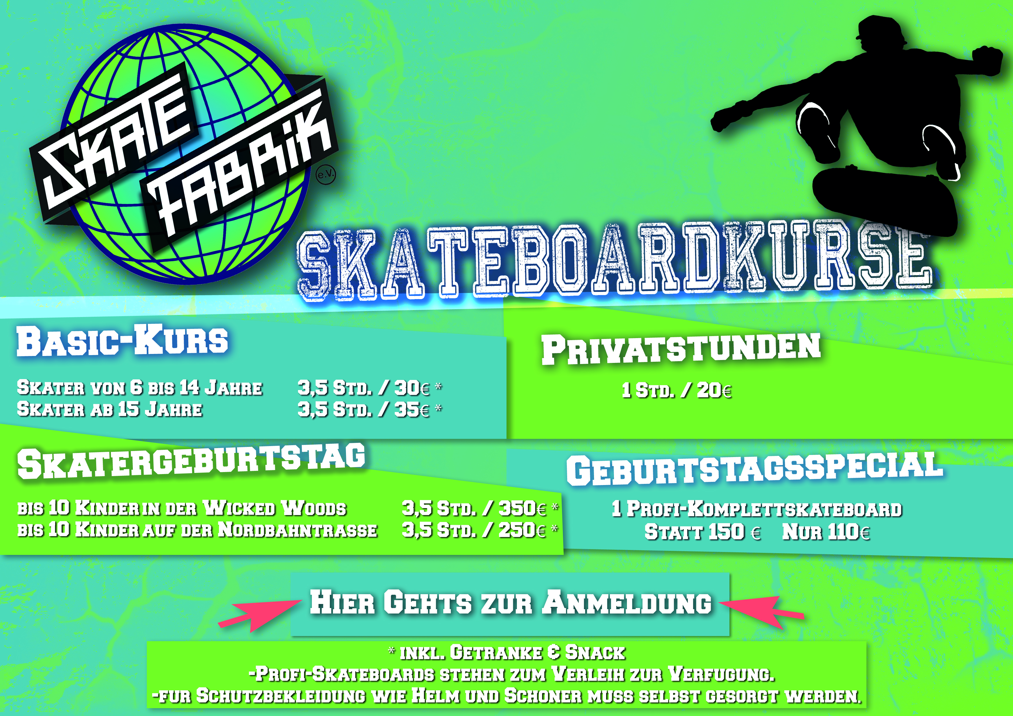 skatekurse flyer website